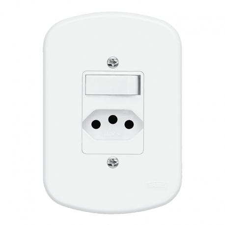 Interruptor 1 Simples + 1 Tomada 2P+T 10A/250V Com Placa 4x2 1357 Blanc Fame