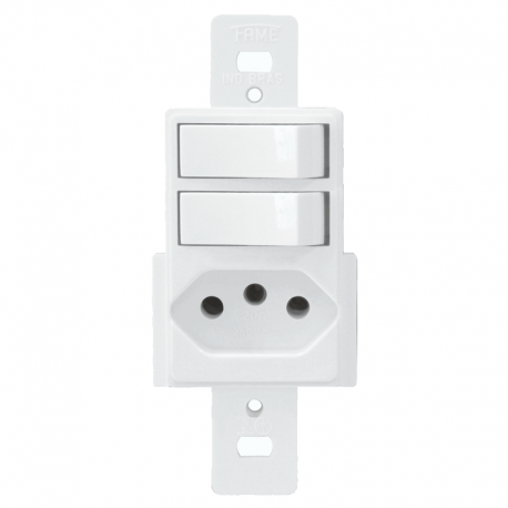Interruptor Duplo Paralelo Com Tomada 2P+T 10A/250V 1345 Blanc FAME