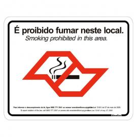 Placa de Vinil 15x20cm Proibido Fumar - Lei Antifumo 420AA SINALIZE